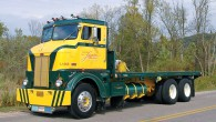 Larry Legro of Neenah, Wisconsin owns this 1948 Peterbilt DT344 COE flatbed. The 344 was one of the first Peterbilt cabovers built on a conventional frame, and sits three inches...